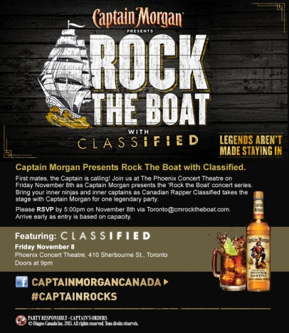 Captain Morgan Rock The Boat concert series! Wanna join me?